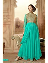 Rozdeal Women Net Embroidered Unstitched 3/4 Sleeve Cyan Anarkali Suit