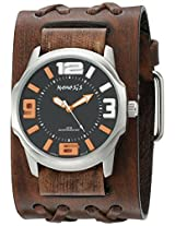 Nemesis Men's 107BVDXB-KN Orange/Black Embossed 3D Series Faded Double X Leather Cuff Band Analog Display Japanese Quartz Brown Watch