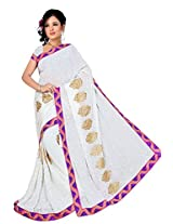 Chinco Embroidered Saree With Blouse Piece (503-C_White)