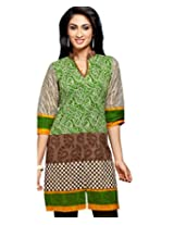 Karishma Suits Women Cotton Kurta (Klvpg21 _Green & Brown _Free Size)