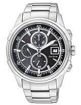 Citizen Eco-Drive Chronograph Wrist Watch for Men (Black) - CA0370-54E