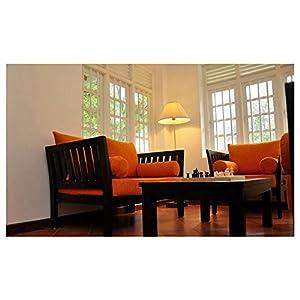 Mebelkart Wooden Sofa Set Extra Spacious 3+2+1- Orange Fabric
