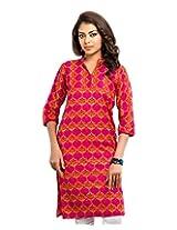 Almas Women's Cotton Regular Fit Kurti (ALM-KUR-300121_L, Red, Large)