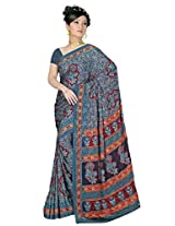Sitaram Women's Blue coloured georgette saree with blouse piece