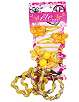 HK etc Pack Of 8 Trendy Yellow Coloured Butterfly Hair Accessory