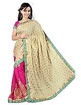 Astha Fashion Viscose Embroidered Saree (Pink Cream)-astha518AF
