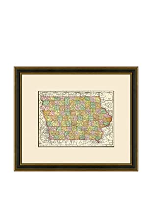 Antique Lithographic Map of Iowa, 1886-1899