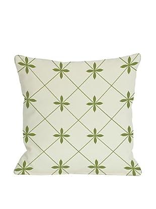 One Bella Casa Crisscross Flowers 18x18 Outdoor Throw Pillow (Green)