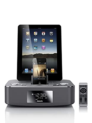 Philips DC390 - Radio despertador con base doble para iPod/iPhone/iPad