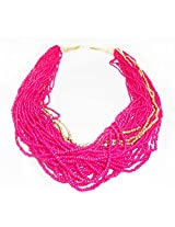Pink beads long chain junk necklace
