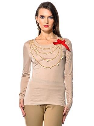Love Moschino Camiseta Bordado Collana (marrón)