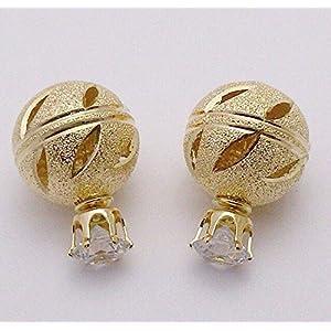 The Desi Soul Tribal Double Ball Earring Gold Filigree 1