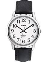 Timex Mens T20501 Easy Reader Silver-Tone Black Leather Watch