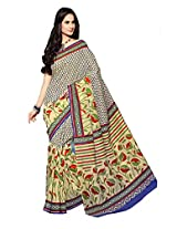 Printd Multi colour cotton saree with blouse piece