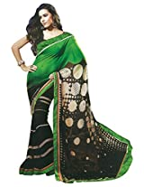 Faux Georgette Saree in Black Colour for Casual Wear