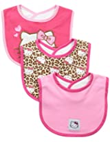 Hello Kitty Baby-Girls Newborn 3 Pack Leopard Bibs
