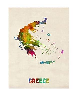 Trademark Fine Art Greece Watercolor Map by Michael Tompsett