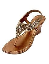 Lamere Women's Fashion Synthetic Antic Gold Heels (LA-356) 39
