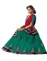 Suchi Women Net Lehenga Saree (Sfjag90190 _Turquoise _Free Size)