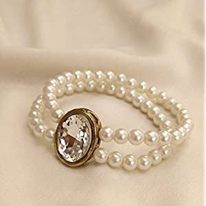 No Strings Attached Double Layer White Pearl Swaroski Crystal Statement Bracelet