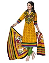 Jevi Prints Gold & Green Cotton Printed Unstitched Dress Material