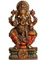 Exotic India Tryakshara Ganesha - South Indian Temple Wood Carving