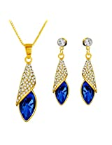 Gold Plated Persian Blue Designer Swarovski Pendant & Earring Set For women by ETERNO FASHIONS