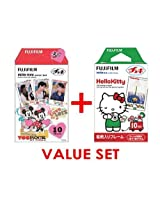 Fujifilm Instax Mini Instant Film,- Hello Kitty & Mickey & Frends (newest Model) Film -10 Sheets X 2 Assort Value Set(with Values Japan Original Discription of Goods)