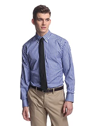 Oxxford Men's Sport Shirt with Button-Down Collar (Navy Check)