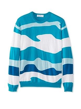 Salvatore Ferragamo Men's Crew Neck Sweater (Teal)