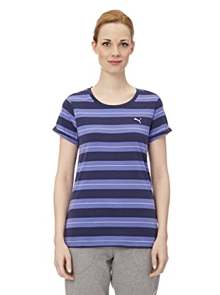 Puma Damen T-Shirt Striped (medieval blue-violet storm)