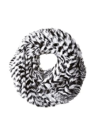 Jocelyn Women's Long Hair Rabbit Knitted Zig Zag Infinity Scarf, Black/White