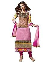 Vibes Women Georgette Salwar Suit Dress Material (V173-01 _Pink _Free Size)