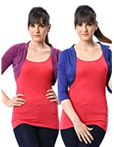 ESPRESSO WOMEN PACK OF 2 SHRUGS -ROYAL / PURPLE-S
