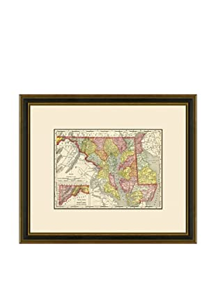 Antique Lithographic Map of Maryland & Delaware, 1886-1899