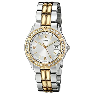 GUESS Women's U0026L1 Dazzling Sporty Silver & Gold-Tone Mid-Size Watch with Date