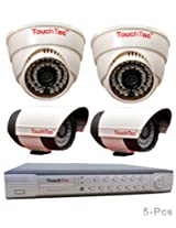 TouchTec 4 Channel D1 DVR + Dome IR + Bullet Camera , 800 TVL 3.6 MM Lens with stand-5 Pcs