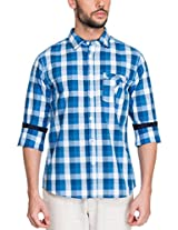 Zovi Cotton Slim Fit Casual White and Blue Checkered Shirt with Contrast Inner Sleeves(11925300801_X-Large)