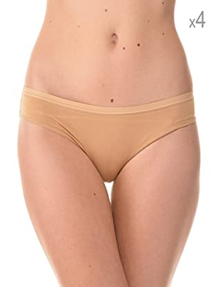 Anyma by Cotonella Pack 4 Braguitas Bikinis Cintura Baja (Beige)