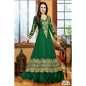 Bhuwal Fashion Green Faux Georgette Embroidered Resham  Anarkali Suit