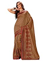 Orbymart Brownn Color Raw Silk Saree - 55206866