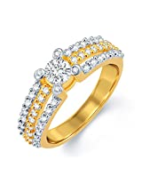 Sukkhi Dazzling Gold and Rhodium Plated CZ Solitaire Ring for Women