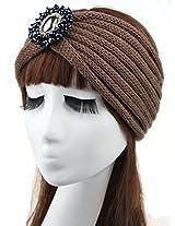 Jelinda Women Girls Crochet Rhinestone Bead Headband Knit Headwear Ear Warmer Turban Headwrap (Khaki)