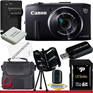 Canon PowerShot SX280 HS Digital Camera (Black) 32GB Package