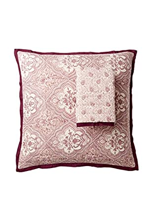 Yala Designs Organic Cotton Block Print Quilt Sham, Plum Razia