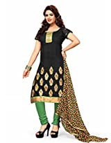Sonal Trendz Black Color Embroidery Semi-Stitched Suit.