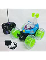 Rechargeable RC Stunt Car Radio Control Toy with LED Lights on Wheels (Colors May Vary)
