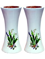 Unique Art Emporium Wooden Flower Vase (9 cm x 9 cm x 20 cm, White, Set of 2, UAFP036)