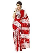 B3Fashion traditional Handloom Dhakai Jamdani saree in white and Red panel