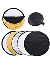 """TOMTOP 32"""" 80cm 5 in 1 (Gold, Silver, White, Black and Translucent)Portable Photography Studio Multi Photo Disc Collapsible Light Reflector"""